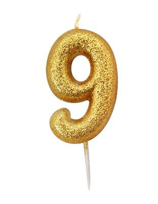 Candle Gold Glitter Numeral 9 - 7cm tall