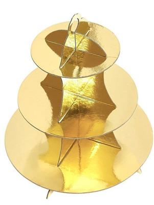 3 Tier Cup Cake Stand 35cm high GOLD   due 10 june3