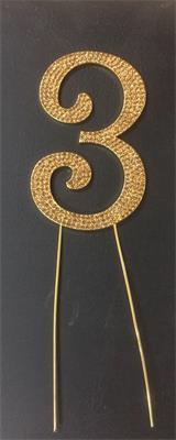 Cake Topper Large Glitter Golden Number 3 Crystal Metal