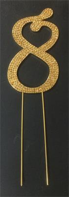 Cake Topper Large Glitter Golden Number 8 Crystal Metal