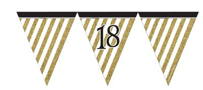 Paper Flag Bunting Black & Gold 18