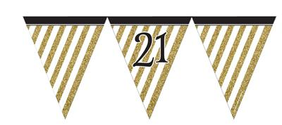 Paper Flag Bunting Black & Gold 21
