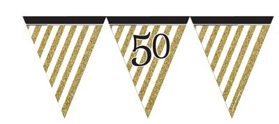 Paper Flag Bunting Black & Gold 50