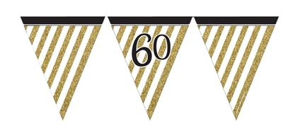 Paper Flag Bunting Black & Gold 60
