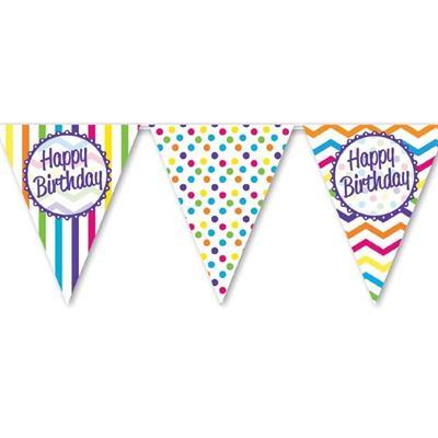 Paper Flag Bunting Chevron Stripe Happy Birthday