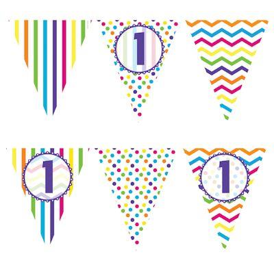 Paper Flag Bunting Chevron Stripe 1st Birthday