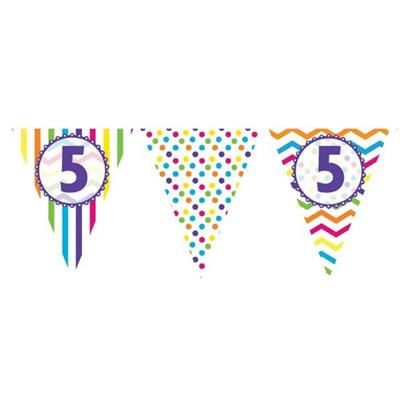 Paper Flag Bunting Chevron Stripe 5th Birthday