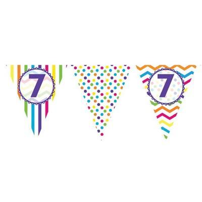 Paper Flag Bunting Chevron Stripe 7th Birthday