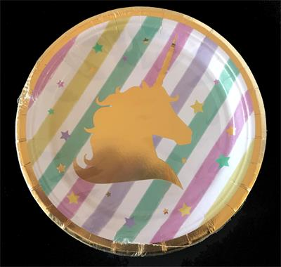 Unicorn paper plate 23cm. Pack of 6