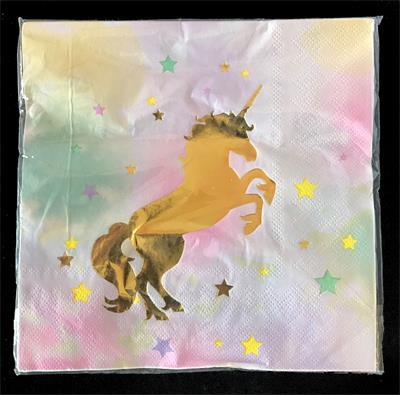 Unicorn Napkin 33cm x 33cm. Pack of 10