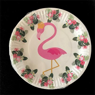 Flamingo paper plate 17cm. Pack of 10