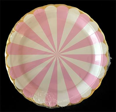 Candy Stripe Pink paper plate 23cm. Pack of 8