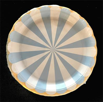 Candy Stripe Blue paper plate 17cm. Pack of 8
