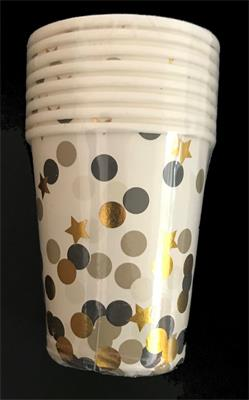 Black Gold and Silver Dots paper Cup 230ml. Pack of 8