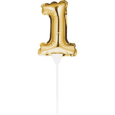 Self Inflating Mini Balloon Cake Topper 1 Gold/centrepiece 10.7cm x 22.8cm (includes cup/stick)