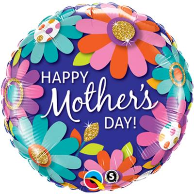 Qualatex Balloons Happy Mothers day Fashion Floral  pkgd 45cm