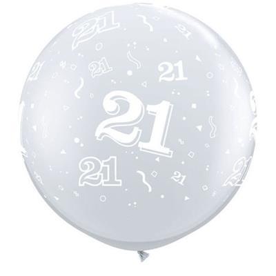 "Qualatex Balloons 21 Around Diamond Clear 90cm - 36"""