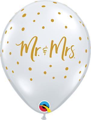 Qualatex Balloons Mr & Mrs Gold Dots D/clear 28cm