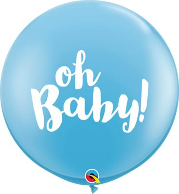Qualatex Balloons Oh Baby Pale Blue 90cm