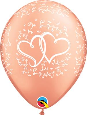 Qualatex Balloons Rose Gold Birthday Entwined Hearts 28cm