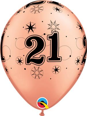 Qualatex Balloons Rose Gold  21 Sparkle A -Round 28cm