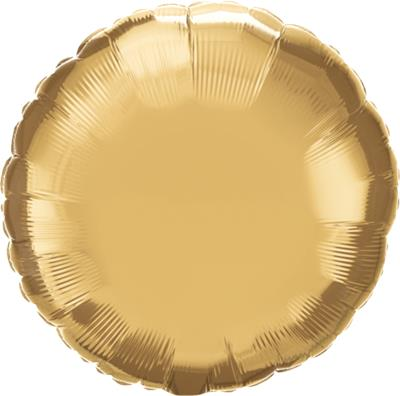Qualatex Round Foil Chrome Gold 45cm Unpackaged