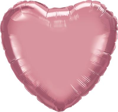 Qualatex Heart Foil Chrome Mauve 45cm Unpackaged