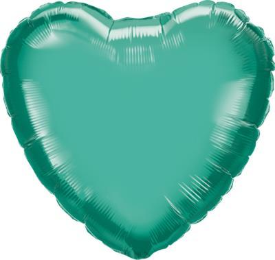 Qualatex Heart Foil Chrome Green 45cm Unpackaged