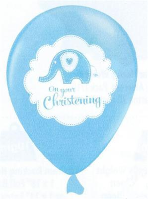 Sweet Baby Elephant Christening Pearl Blue Latex 30cm Single Pack
