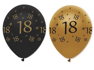 Latex Balloons18 Black & Gold 30cm