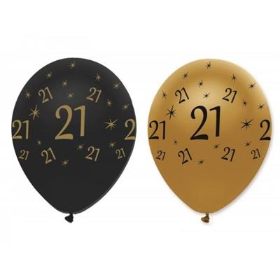 Latex Balloons 21 Black & Gold 30cm