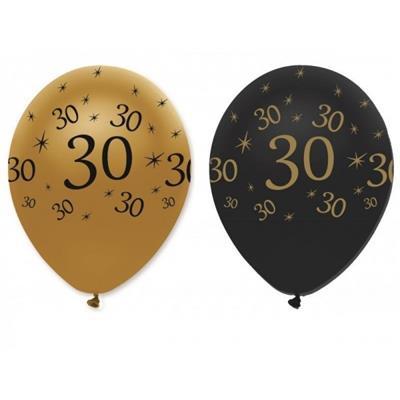 Latex Balloons 30 Black & Gold 30cm bag 25