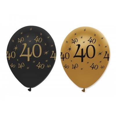 Latex Balloons 40 Black & Gold 30cm bag 25
