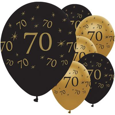 Latex Balloons 70 Black & Gold 30cm-bag 25