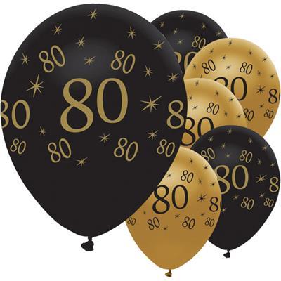 Latex Balloons 80 Black & Gold 30cm-bag 25