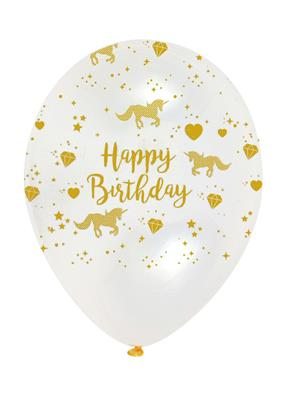 Unicorn Sparkle Birthday Gold Print on Diamond  Clear  Latex 30cm
