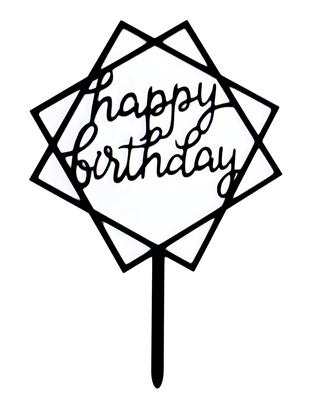 Happy Birthday cake topper black squares