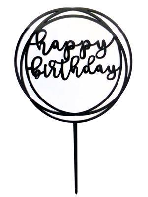 Happy Birthday cake topper black circles