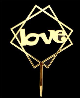 LOVE cake topper gold squares