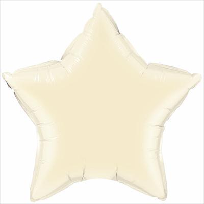 10cm Star Foil Pearl Plain Ivory