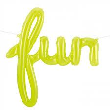 "Script ""Fun"" Flouro Green 114cm North Star Foil"