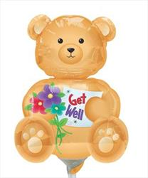 "Bear Get Well 14"" Air filled with cup and stick."