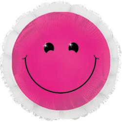Neon Pink Smiley Foil Balloon 45cm