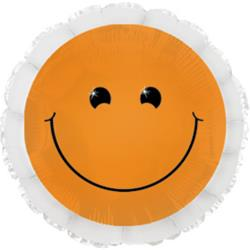 Neon Orange Smiley Foil Balloon 45cm
