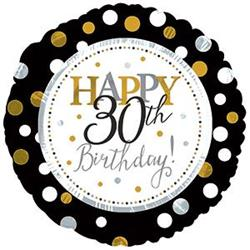 Happy 30th Birthday Black and Gold Dots 45cm