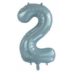 Number 2 Light Blue 86cm (34 inch) Decrotex Foil Balloon