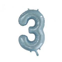 Number 3 Light Blue 86cm (34 inch) Decrotex Foil Balloon