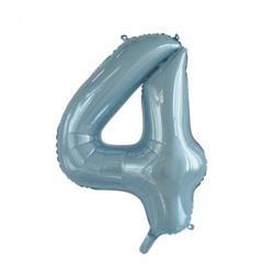 Number 4 Light Blue 86cm (34 inch) Decrotex Foil Balloon