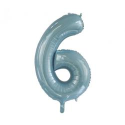 Number 6 Light Blue 86cm (34 inch) Decrotex Foil Balloon