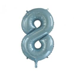 Number 8 Light Blue 86cm (34 inch) Decrotex Foil Balloon